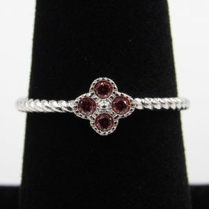 Jewelry - Sterling Silver Rope Band Red CZ Diamond Ring